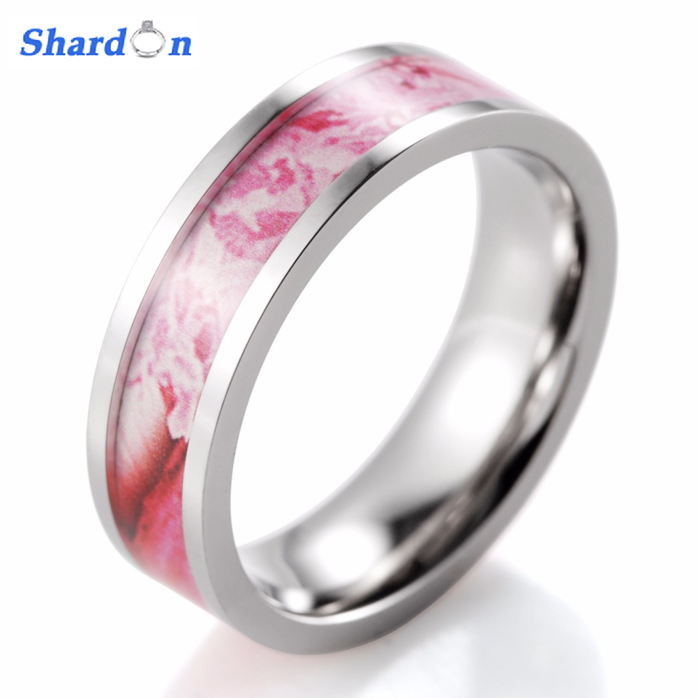 SHARDON Womens trendy Rings Pink Titanium Kings Flower Camo Ring Camouflage Engagement ring wedding band for free shipping
