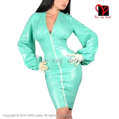 Sexy jade grün Latex Kleid Mit puffärmeln Reißverschluss vorne Gummi ...