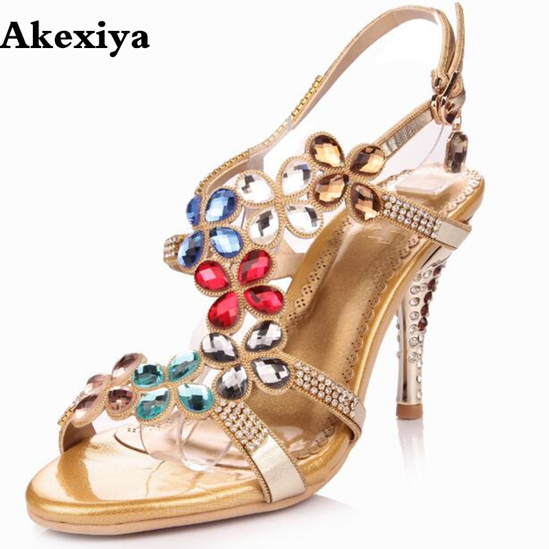 Women 2018 Summer New Corium With Diamond Sexy Sandals Open The Toe Sumptuous Thin High Heel