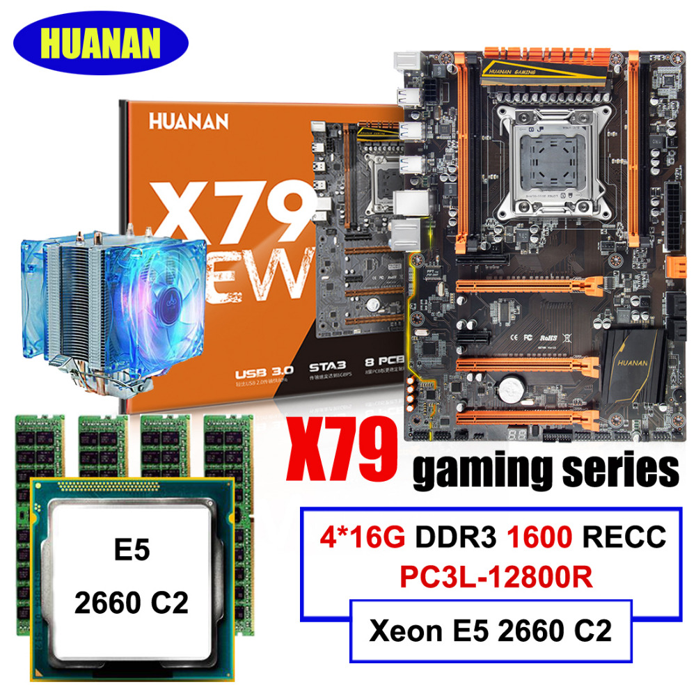 HUANAN deluxe X79 LGA2011 gaming motherboard combos Xeon E5 2660 C2 with cooler RAM 64G(4*16G) DDR3 1600MHz REG ECC all tested термосумка thermos e5 24 can cooler 19л [555618] лайм