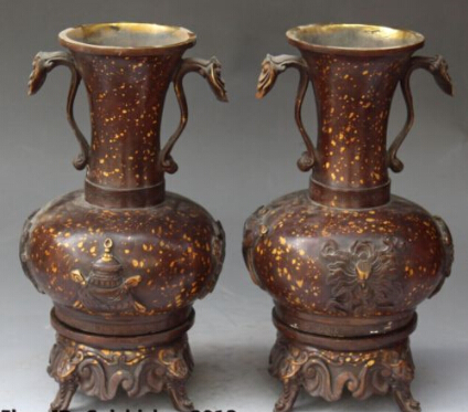 """RHS0213 11""""Chinese Dynasty palace Bronze Gilt Elephant Head Ruyi Vase Bottle Statue Pair statue lion statuestatues for home decor - title="""