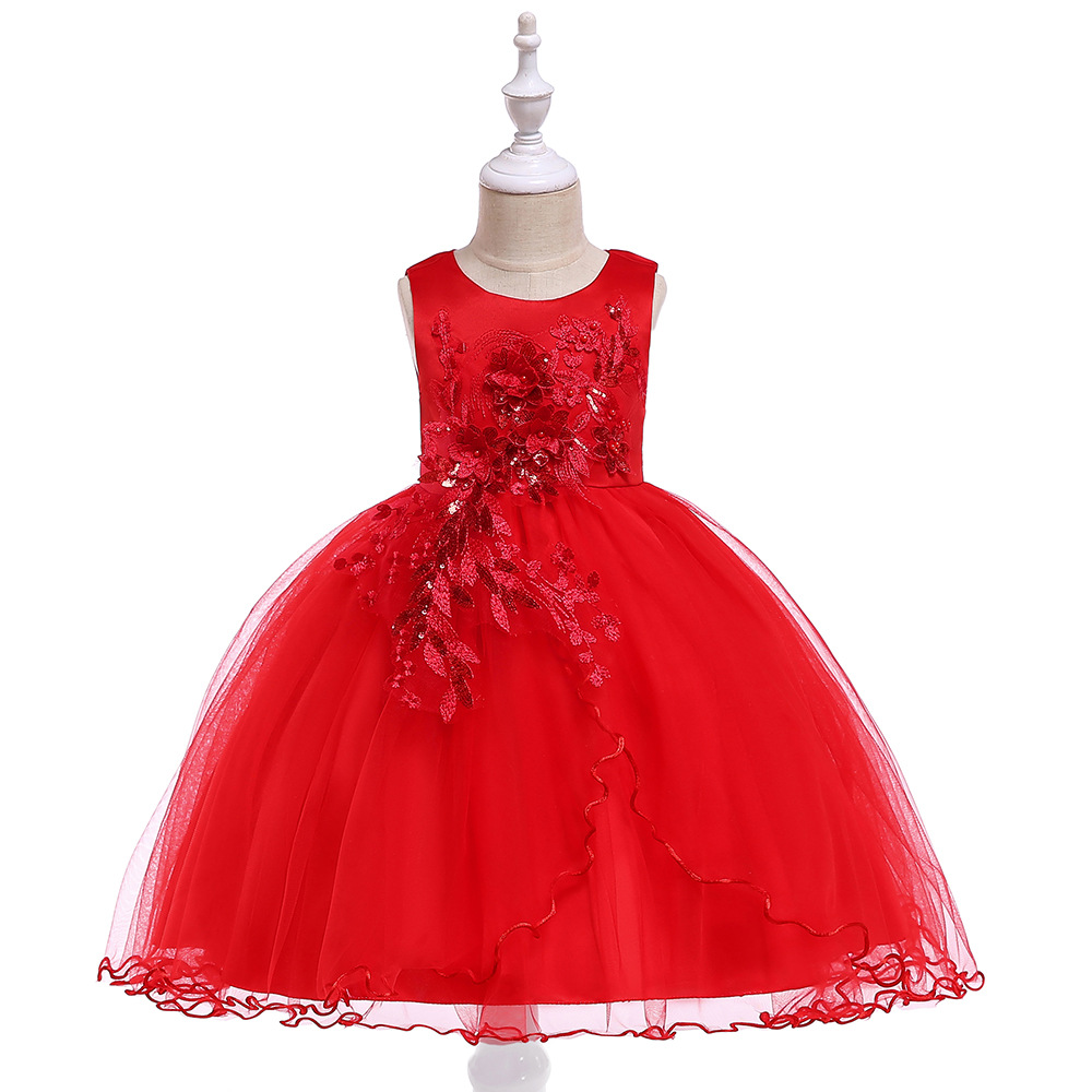A-line Red Sleeveless   Flower     Girl     Dresses   For Wedding Tulle Lace Appliques Birthday Party   Dress