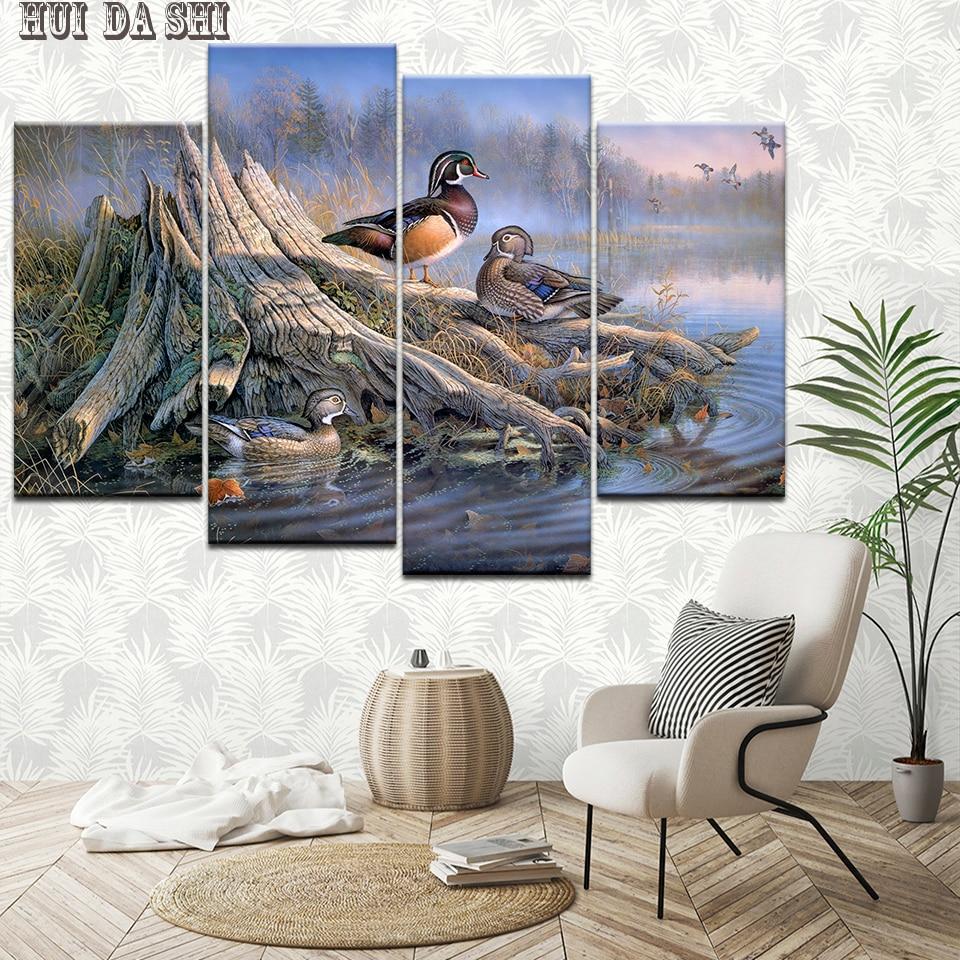 Duck Home Decor: Canvas HD Prints Pictures 4 Pieces Mandarin Duck Paintings