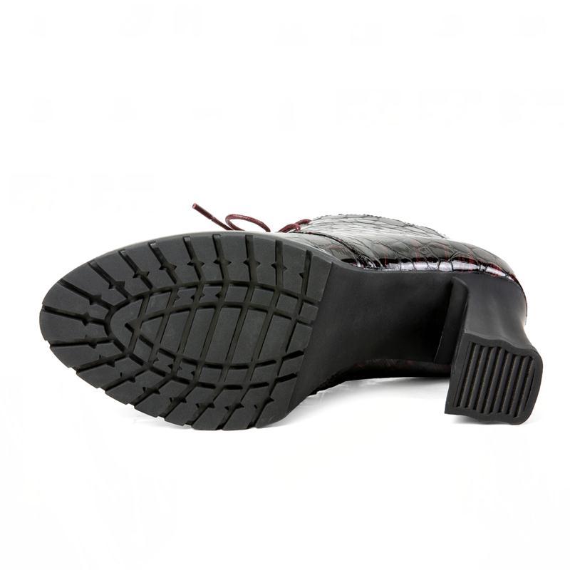 D'hiver 34 Femme Taille Talons Kemekiss Éclat Noir Rouge Bottes Véritable Zipper Cuir 39 En Femmes Mode Cheville Chaussures Hauts Épais vin gqqfwO4p