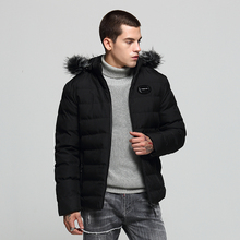 European American Fashion Winter Jackets Men Fur Collar Hooded Coats Casual Outwear Thick Velvet Men Parkas Warm Down Jackets