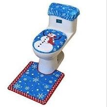 three-piece suit Fancy christmas cover toilet seat Christmas snowman water tank case Rug Bathroom Decoration Xmas Natal Navidad skidproof christmas snowman print bath rug