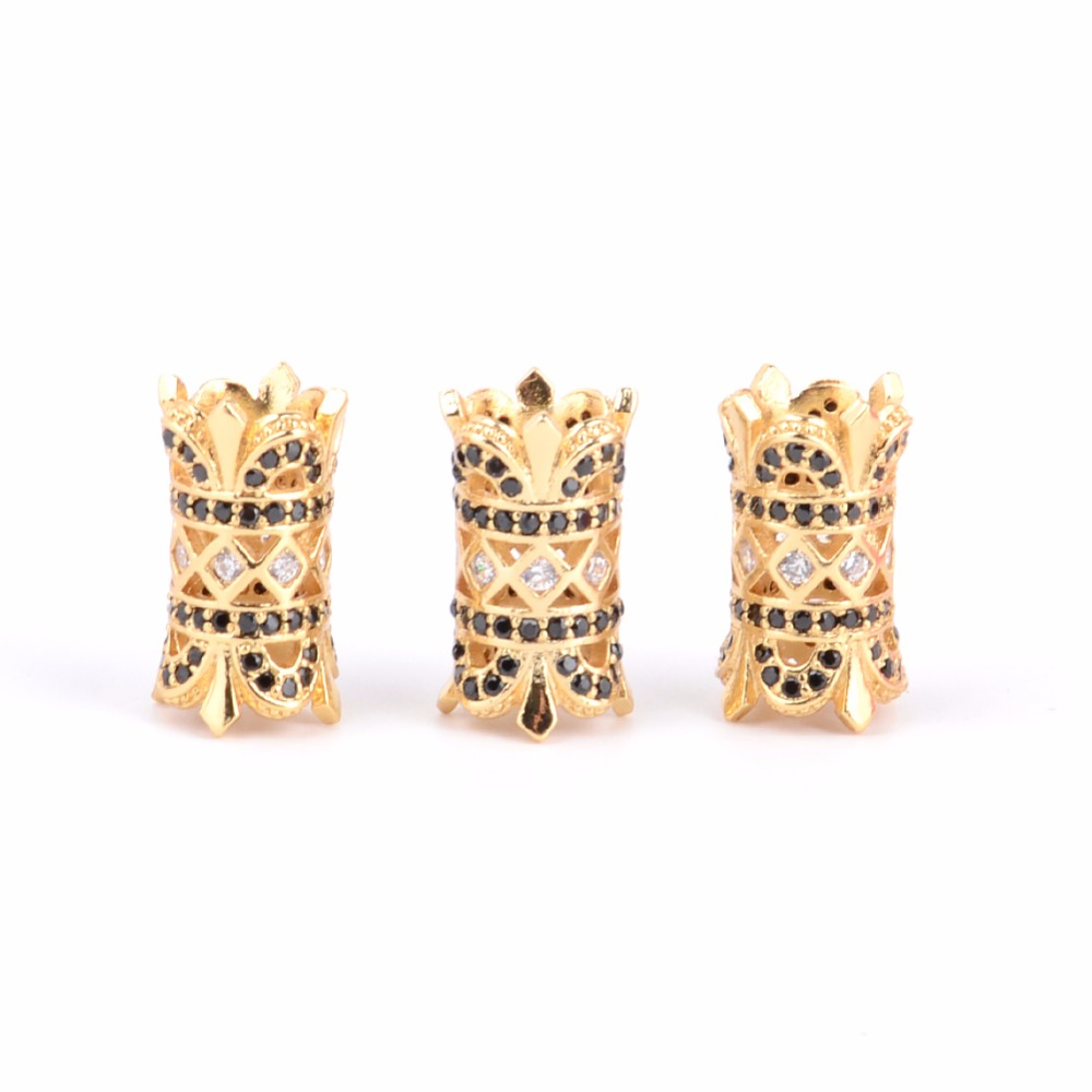 Beads Beads & Jewelry Making Intelligent Micro Cubic Zirconia Twin Crown Charms Tube Spacer Beads Fti Diy Hand Making Bracelet Jewelry Gift An Enriches And Nutrient For The Liver And Kidney