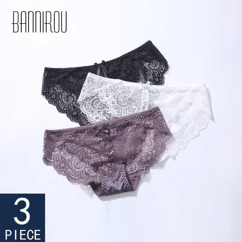 3 Pcs Woman Lace Sexy Briefs Underwear For Solid Low Rise Female Panties 2019 New M-XXL BANNIROU