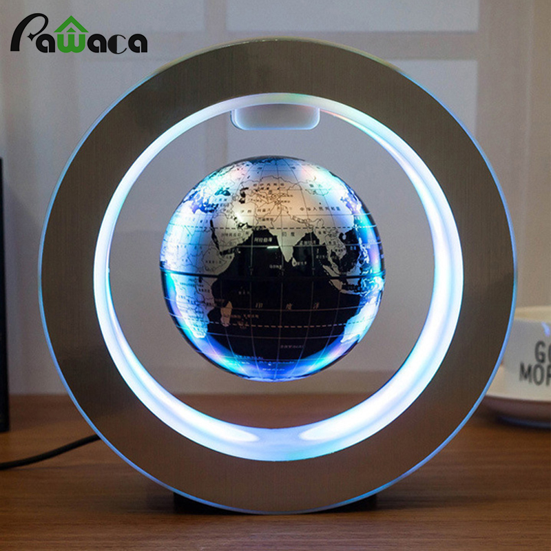 Round Globe World Map LED Magnetic Levitation Floating Globe Home Office Art Decoration Craft Desktop Decor Figurines Miniatures ...