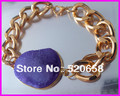 4pcs/lot  shape natural Drusy agate stone bead bracelet,Gold plated chunky chain bracelet Druzy stone connector
