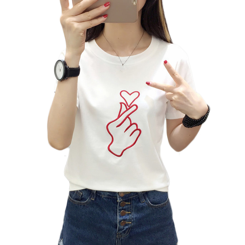 Casual Short Sleeves T shirt M-2XL Heart Embroidery Couples Summer T-shirt Heart O-neck For Women Tops Female Black/White Color