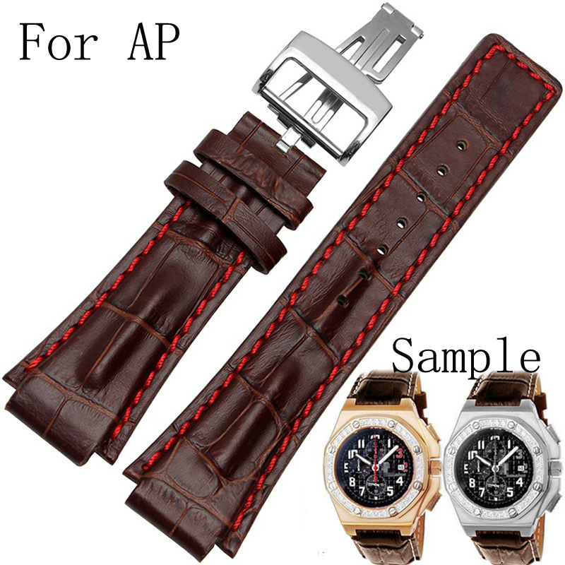 26MM AP Watchband  Brown Genuine Leather Watch Strap Belt Bracelet With Folding Clasp And Logo For AP Watch high quality genuine leather watchband 22mm brown black wrist watch band strap wristwatches stitched belt folding clasp men