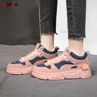 HQFZO 2019 New Platform Sneakers Flat Flock Lace Up Soft Breathable Casual Shoes Women Vulcanize Shoes Feminino Zapatillas Mujer