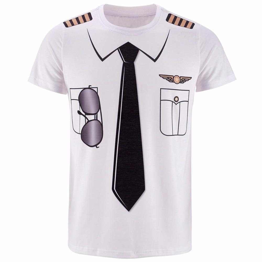Mannen Pilot Uniform 3D T-shirt Halloween Cop Sheriff Pirate - Herenkleding
