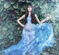 Azul padrão de Flor do laço de maternidade as mulheres grávidas vestido de malha maxi vestido longo estampado floral roupas adereços sessão de fotos grafia