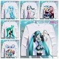 Historieta de las muchachas/mujeres hatsune miku camiseta anime animación de la novedad de manga larga camiseta de los hombres cosplay clothing tops tee yc-005
