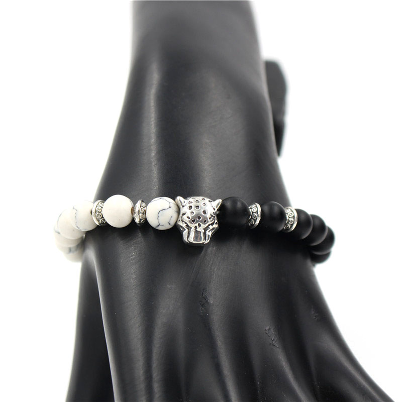 PINIYA Drop Shipping Fashion Silver Color Leopard Head Charm Black Matte White Howlite Stone Bead Bracelet Jewlery Men Women in Charm Bracelets from Jewelry Accessories