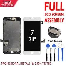 مجموعة كاملة LCD ل فون 7G 7 زائد LCD كاملة الجمعية عرض محول الأرقام بشاشة تعمل بلمس استبدال لا المنزل زر الجبهة كاميرا