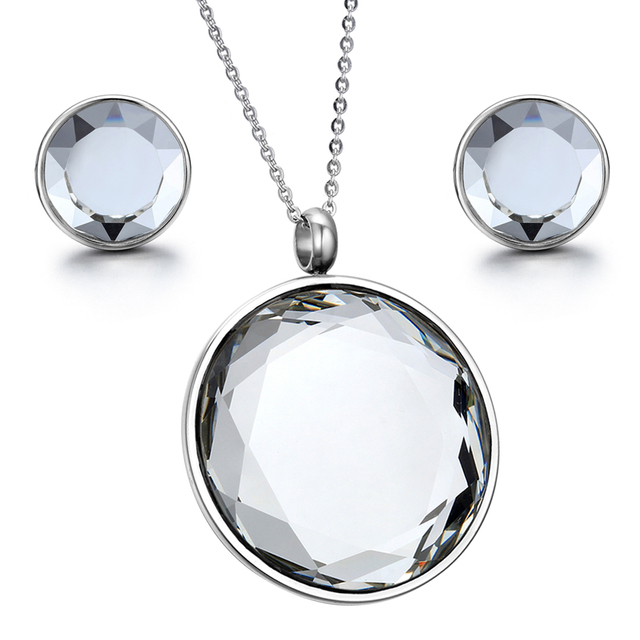 Boniskiss silver tone stainless steel ladies mirror polishing round boniskiss silver tone stainless steel ladies mirror polishing round crystal pendant necklace with chain mozeypictures Gallery