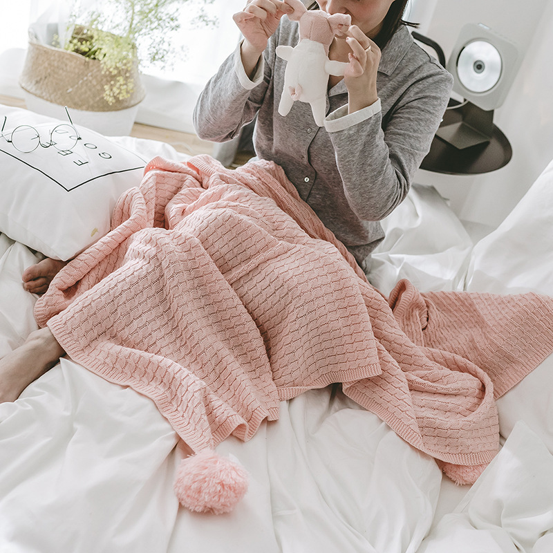 LYN&GY Pink American Style Cotton Knitted Throw Blanket With Ball Casual Nordic Style Bed Runner Sofa Cover Plaids Bedspread