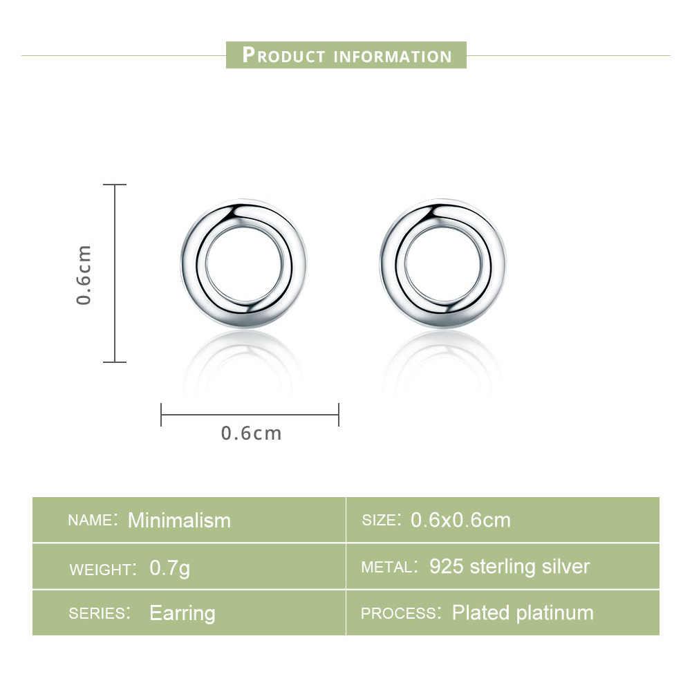 Bamoer brincos de prata refinada 925 femininos, joias redondas com tarraxa SCE349-1H, minimalismo, novidade