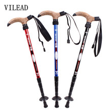 VILEAD 7075 Aluminum Ultralight 4 Sections Telescopic Walking Stick Adjustable Canes Hiking Alpenstock Trekking Pole 50-110cm