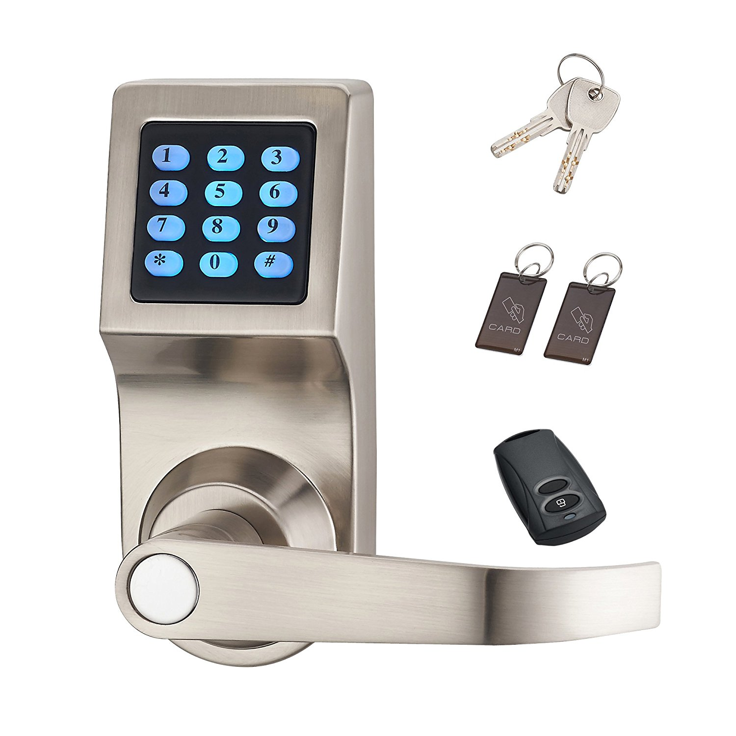 digital keypad electronic door lock unlock with remote control m1 card code handle direction. Black Bedroom Furniture Sets. Home Design Ideas