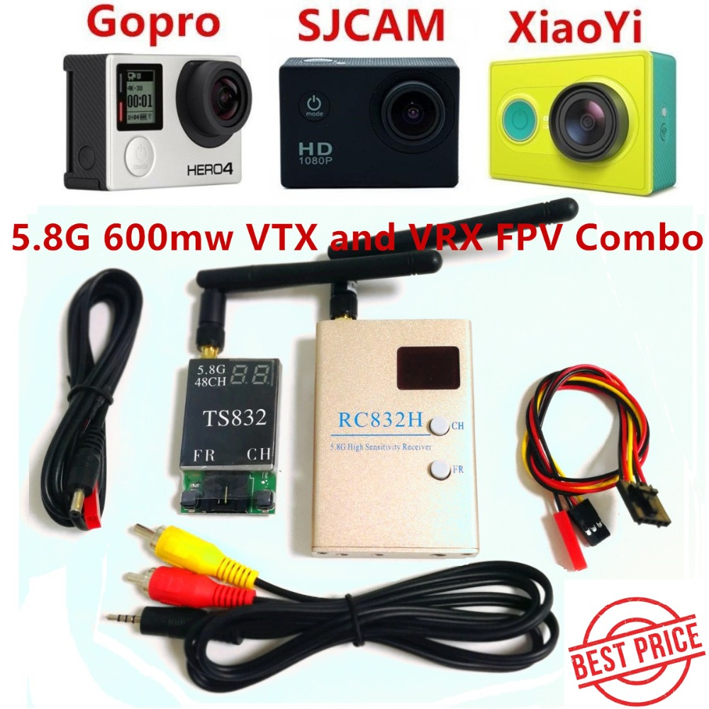 FPV 5.8Ghz 600mW 48CH Wireless AV A/V transmitter receiver TS832+RC832H Tx & Rx Set for Professional Drones RC Plane QAV250