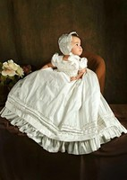 2017 Lovely Baby Infant Girls Christening Dress White Ivory Floor Length Birthday Dress Baptism Gown With Bonnet With Shoes