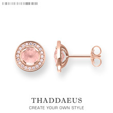 Light of Luna Pink Round Ear Studs Earrings,Thomas Style Fashion Good Jewerly For Women,2018 Ts Gift In 925 Sterling Silver(China)