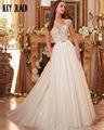 Joky Quaon Sexy V-Neck Backless Cap Sleeve Beaded Bodice Bridal Gowns 2017 Slim Elegant  Wedding Dress Plus Size Robe De Mariage