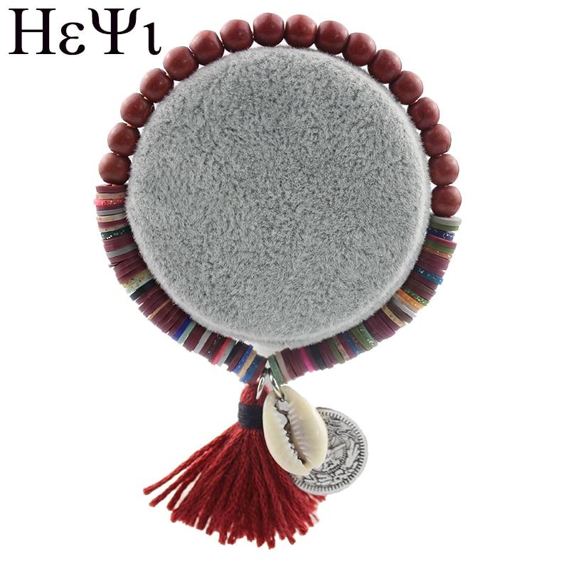 2018 Bohemian Style Beach Shell Copper Plate Pattern Pendant Bracelet Polymer Clay Elastic Beads Tassel Colorful Bracelets