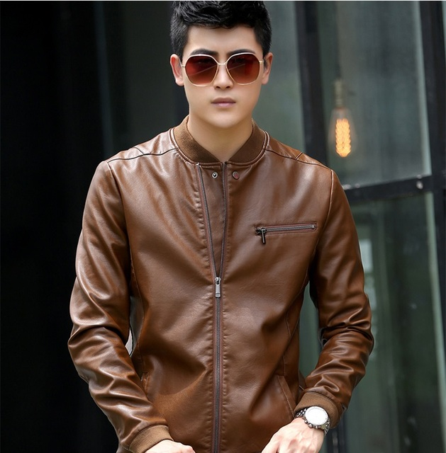 2017 Autumn Casual Men's Leather Jackets Stand Collar Leather Jackets Men Slim Clothing Soft Sheepskin Leather Clothing