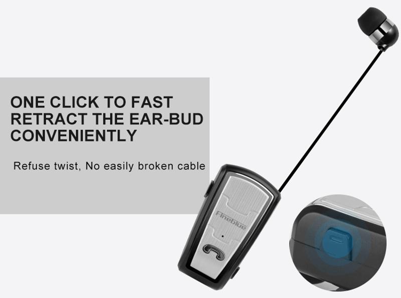Original FineBlue FQ208 Clip-on Bluetooth Headset Anti-lost Retractable Wireless Earphone Clip Handsfree Headphone With Micr (23)