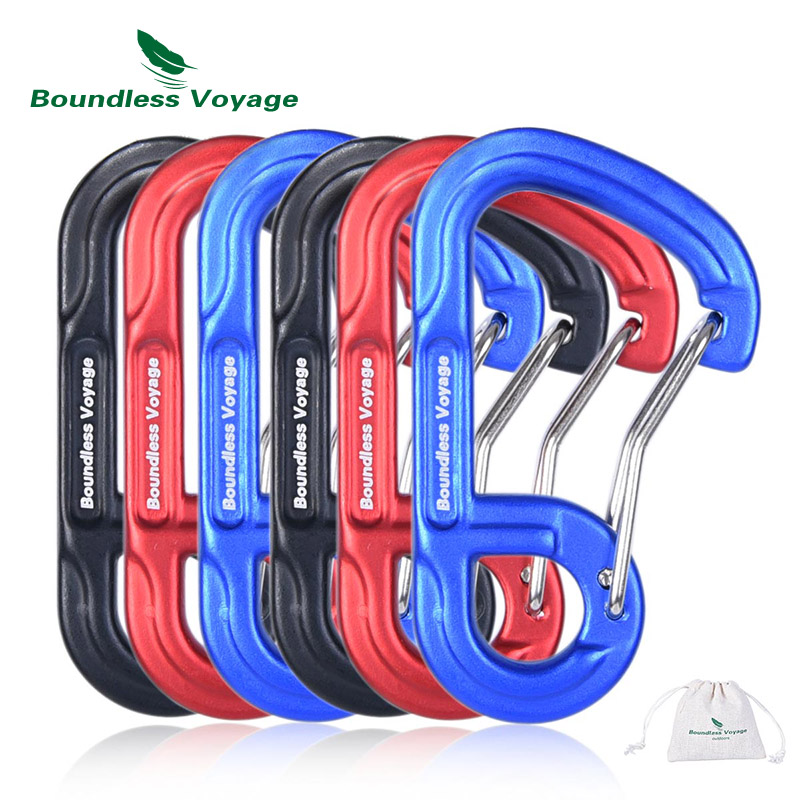 Boundless Voyage Outdoor 10pcs D type Screwgate Carabiners Aluminum Alloy Camping Climbing Backpacking Snag Free Wiregate in Climbing Accessories from Sports Entertainment