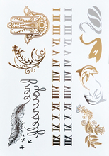 #357 Roman Numerals Tattoo Metallic Jewelry Tattoos Inspired Body Tattoo, Unique Women Sexy Temporary Tattoo