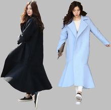 Woolen cloth Coat 2016 Autumn Winter New Temperament Medium long Loose Big yards Woolen cloth Coat Pure color Women Coat G1718