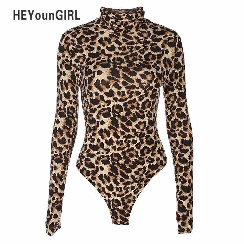 HEYounGIRL Cheetah Leopard Bodycon Sexy Body Suit cuello alto manga larga mono