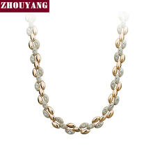 Top Quality ZYN101 Ear of Golden Wheat Chokers Necklace Rose Gold Color Fashion Jewellery Nickel Free Pendant Crystal(China)