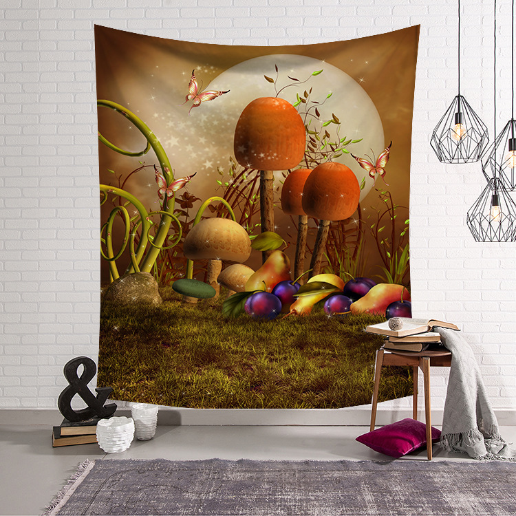 Image 4 - CAMMITEVER Blue Green Woods Forest Natural Scenic Tapestry Beautiful Sight Printed Wall Hanging Tree Natural Scenery Tapestry-in Tapestry from Home & Garden