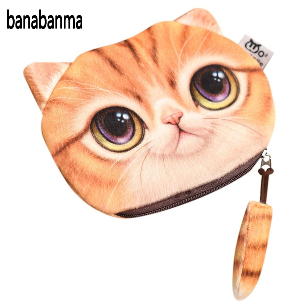 banabanma 3D Cute Cat Face Printing Coin Purses Women Cartoon Zipper Change Wallets Small Makeup Bag 2017 fashion function ZK30