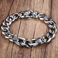 Men Heavy Wide Metal 316L Stainless Steel Bracelet Gothic Punk Curb Chain Link Bracelets Bangles Pulseira