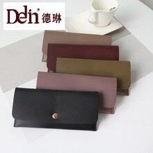 DELIN Fabrik direkt großhandel lange brieftasche weibliche Koreanische version des einfachen Pu brieftasche litschi Mini Mini ordner