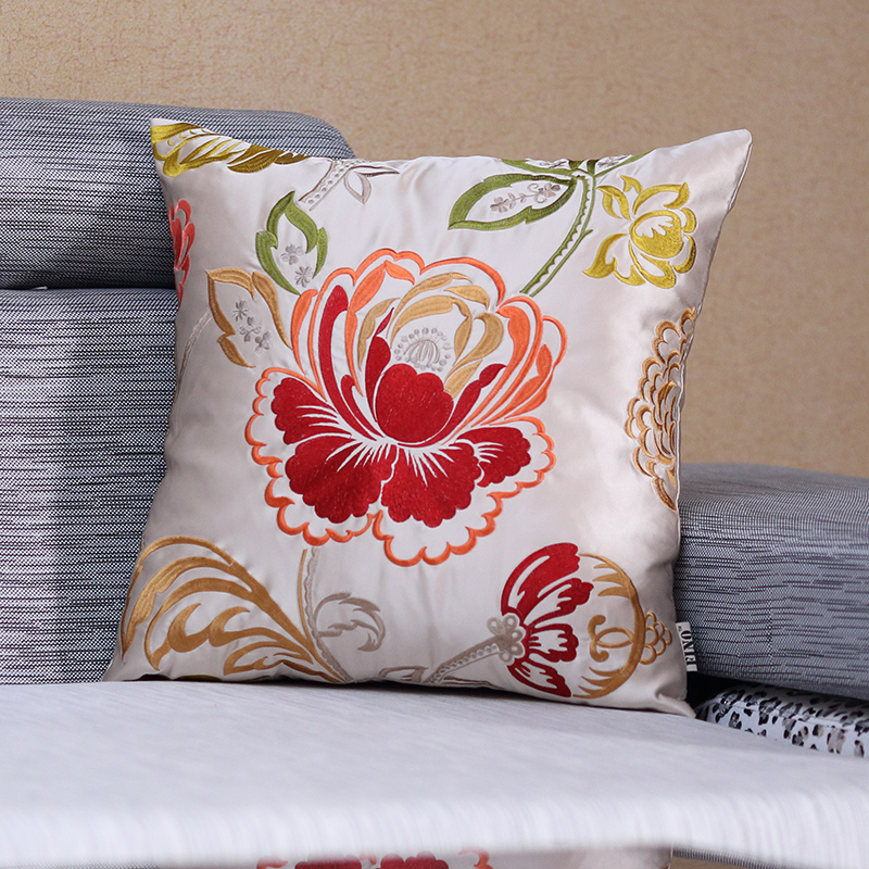 Silk Embroidery Throw Cushion Cover For Sofa Luxury Pillow Cover Flower  Cushion Case Home Decor Pillow