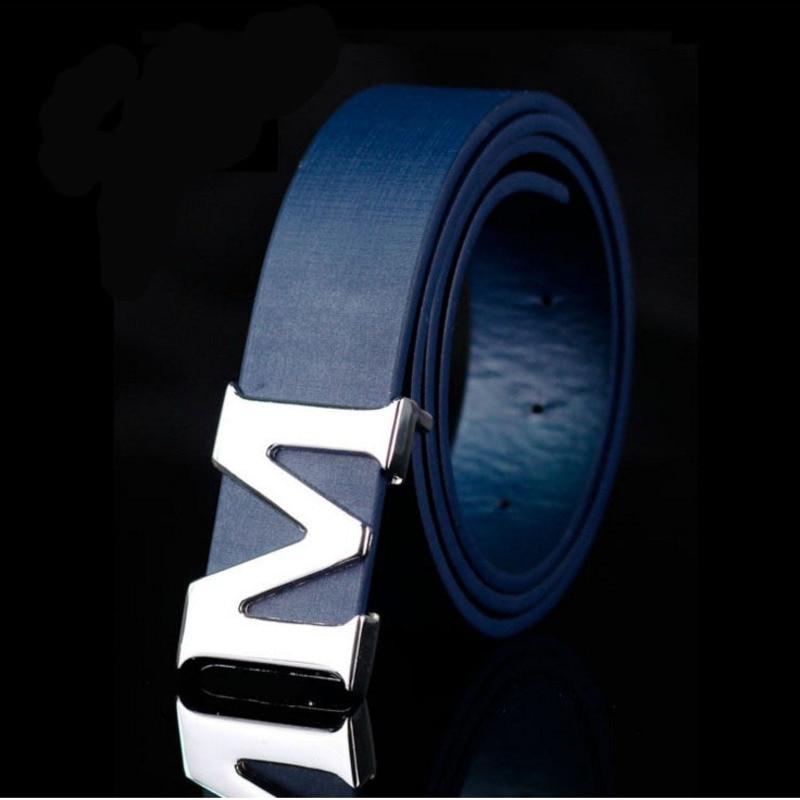 Ceinture en cuir véritable M à grilles | Marque de luxe, ceintures de bonne qualité pour hommes hommes, ceinture fixe pour les pantalons de brise bleue