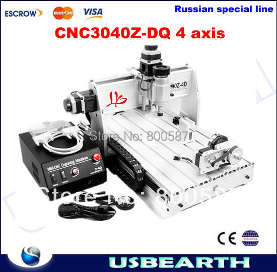Freeshipping to Russia,no tax! CNC 3040 Z-DQ 4 axis with Ball Screw Upgrade CNC3040T, CNC Router Engraving Machine For PCB/Wood no tax to russia factory new 4 axis cnc cutting machine with limit switch usb port 800w cnc router 3040 z usb