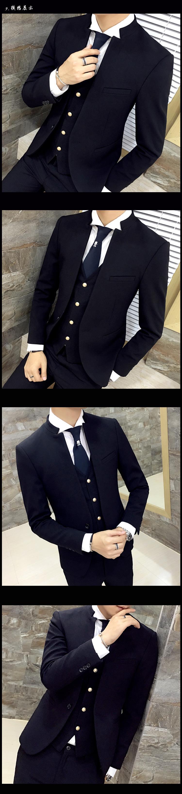 031249b7bb Giacca con colletto alla coreana Giacca unica con vestibilità slim fit  Blazer Vintage Chaquetas Hombre De Vestir Abito da abito elegante
