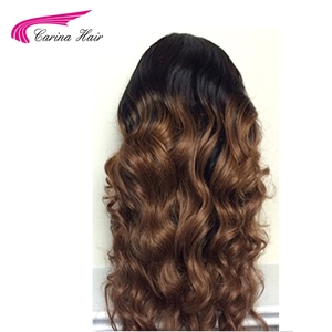Image 4 - Carina Hair Ombre Color Lace Front Human Hair Wigs with Baby Hair Pre Plucked Hairline Remy Brazilian Hair Loose Wave Wigs