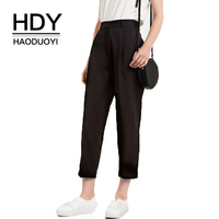 HDY Haoduoyi Mode Zwarte Vrouwen Casual Enkellange Broek Vrouwelijke Hoge Taille Peg Broek Breed Benen Lady Losse Bodems