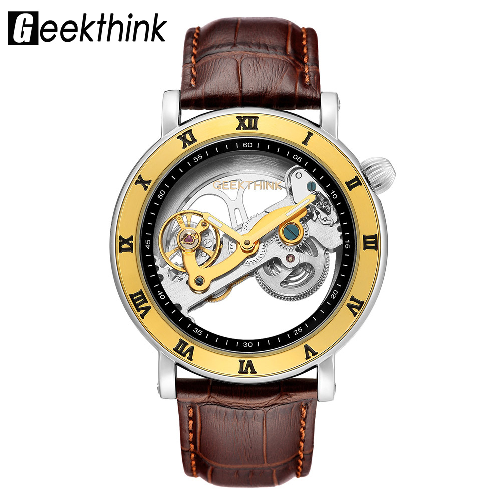 GEEKTHINK Automatic Mechanical Watches Men Brand Luxury Gold Genuine Leather Skeleton Sport Transparent Hollow Self-wind Watch retro hollow skeleton automatic mechanical watches men s steampunk bronze leather brand unique self wind mechanical wristwatches